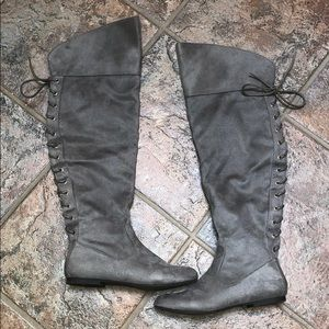 Just Fab Gray suede over the knee boots